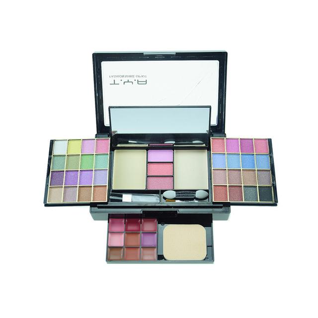 Gaveta stlye 46 cores Da Sombra de Olho conjunto paleta Lip gloss Blush Em Pó com escova Bonita Shimmer da sombra de maquiagem Cosméticos kit