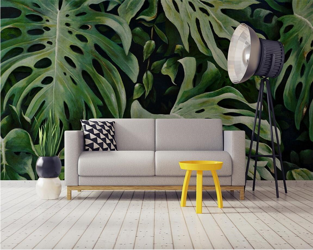 Beibehang wallpaper southeast asian tropical plants 3d for Asian wall mural