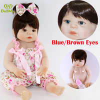 22'' bebe reborn bonecas menina real baby doll reborn Girls Full Body Vinyl Silicone blue/brown eyes optional child gift dolls