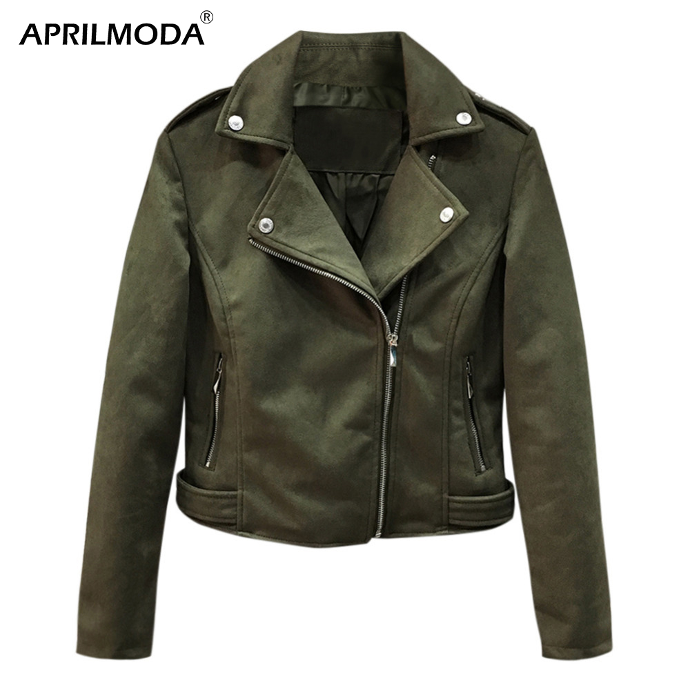Suede   Motorcycle Faux   Leather   Jacket Women Moto Biker Zip Coats chaqueta Blazer PU Jack jaqueta couro Rock cuir femme casaco