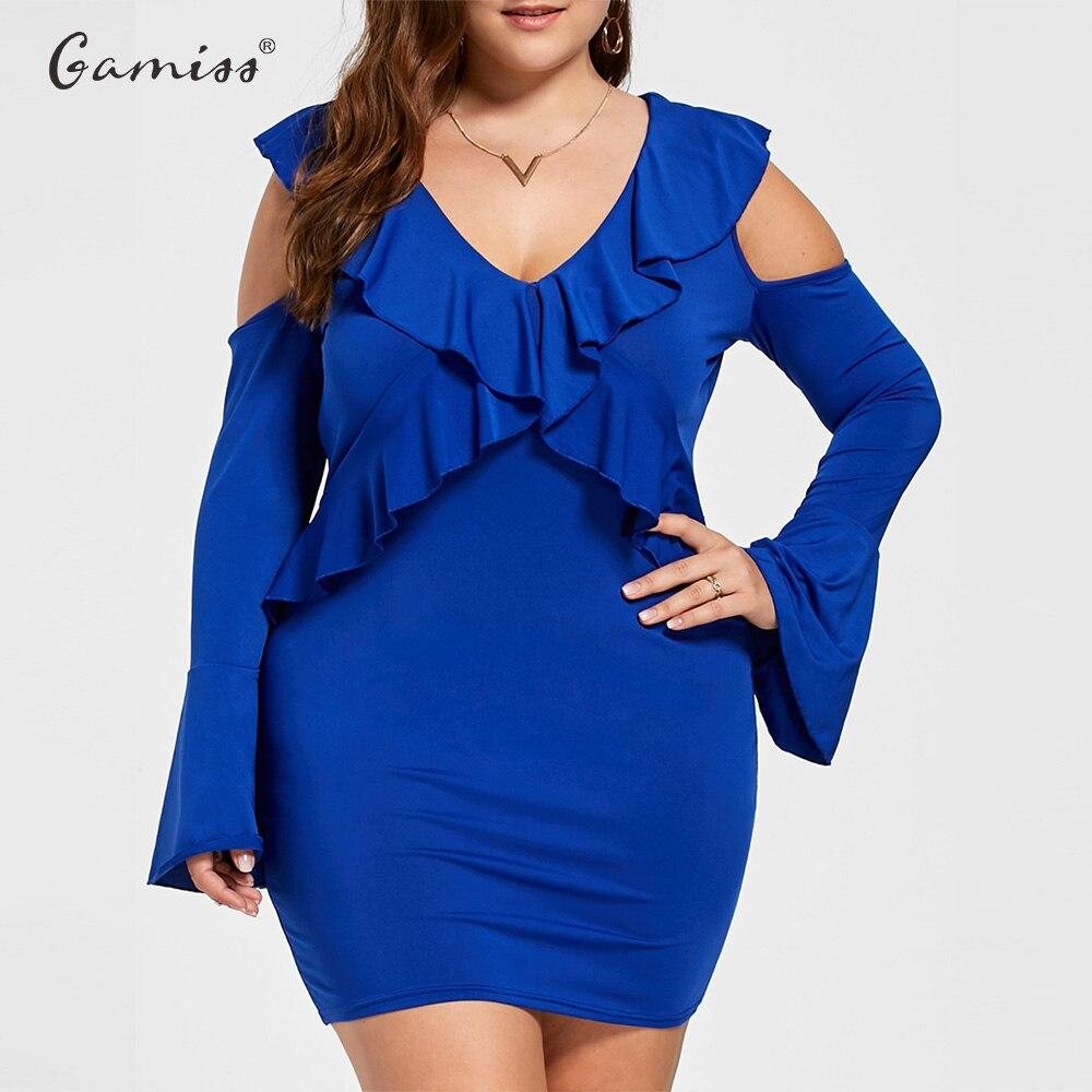 13adf003a46a7 Gamiss Plus Size Cold Shoulder Ruffled Dress Maxi Bodycon Dress Women Dark  Blue Casual Sexy Sheath Dress Big Size 5XL