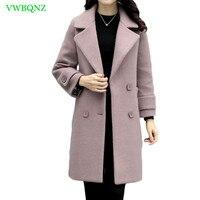 Autumn Winter New Woolen Jacket Women Korean Loose Long Wool Coat Jackets Womens High quality Double breasted Overcoat Tide A339