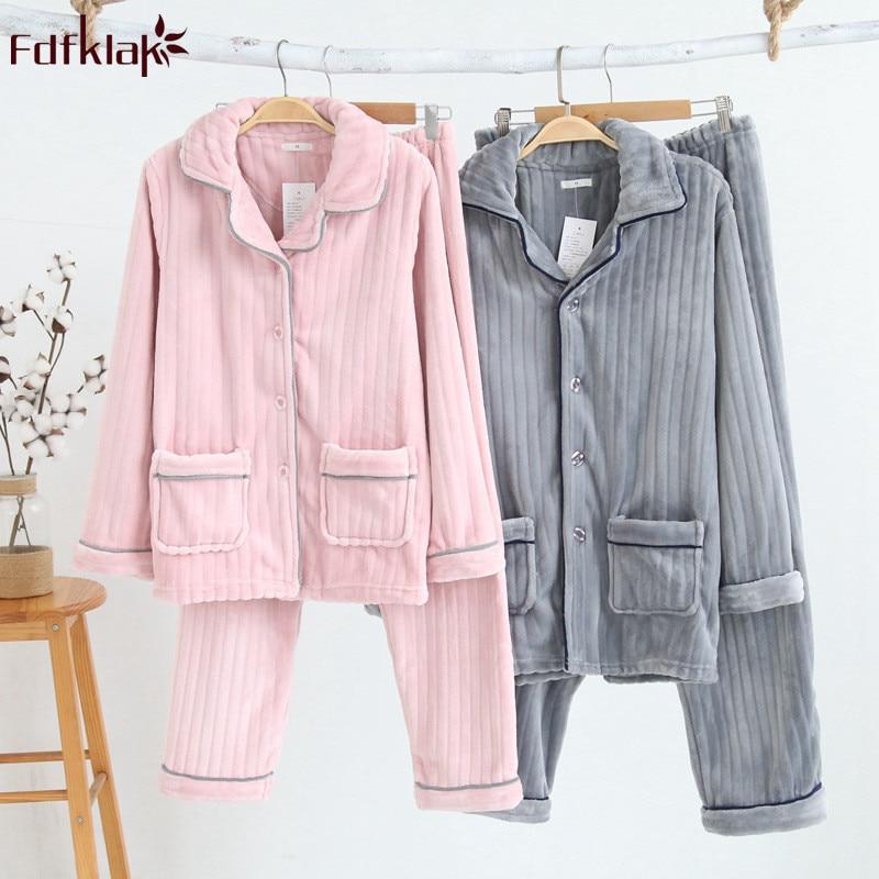 Fdfklak pijama feminino thick warm   pajama     set   autumn winter pyjamas women long sleeve flannel sleepwear couple's pijamas suit