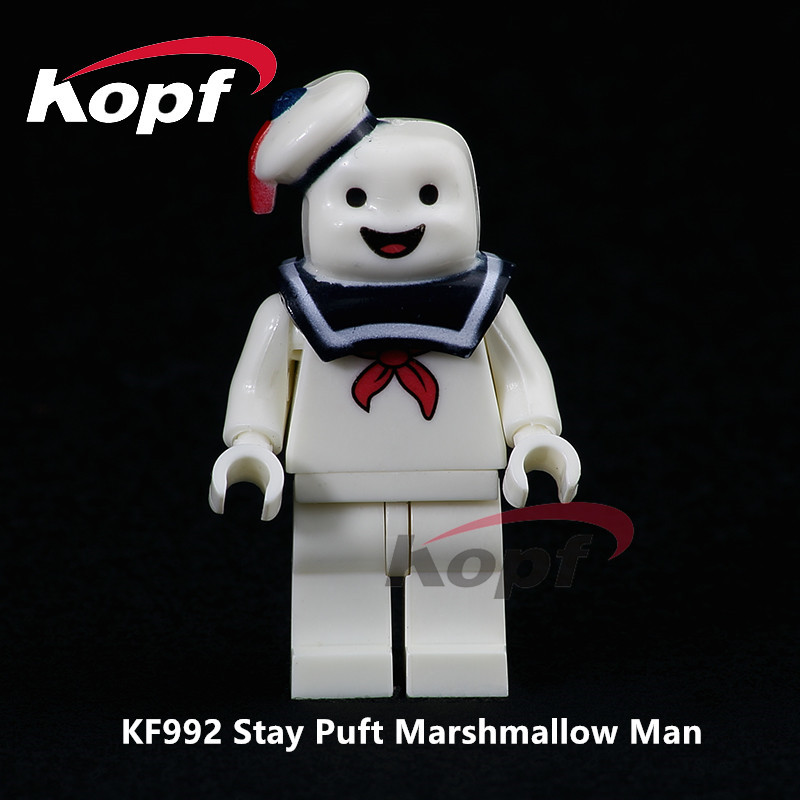 Single Sale Super Heroes Stay Puft Marshmallow Man Dolls Model Bricks Education Building Blocks Children Toys Gift KF992 single sale building blocks super heroes bob ross american painter the joy of painting bricks education toys children gift kf982