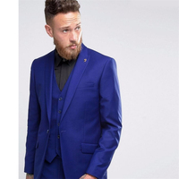HB034 Custom Made One Button Men Suit Royal Blue Wedding Prom Suits For Men Best Man