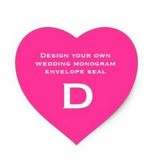 1 5inch DIY Design Your Own Custom Color Wedding Monogram Heart Sticker