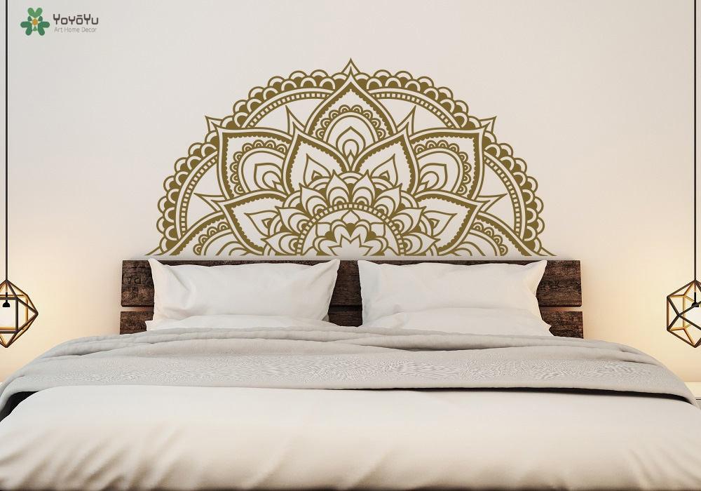 US $9.73 30% di SCONTO|Design moderno Mandala Modello di Fiore Wall  Stickers Per La Camera Da Letto Testiera Adesivo Moraccan Stile Arte Murale  Stanza ...