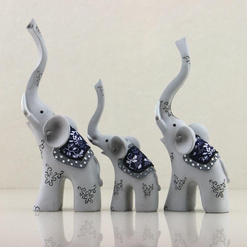 Nouveaux cadeaux d'artisanat trois famille Parent-enfant éléphant résine ornements rétro famille décoration accessoires créatifs en gros