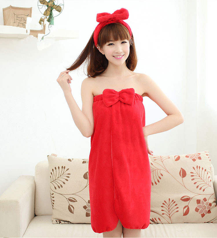 Female Flannel Skirt Bath Towel Headband Can Be Worn Strapless Cotton Bathrobe Sweat Steaming Clothes Bath Towel Set