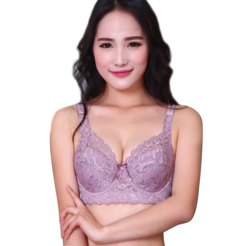 2018 Plus Size Push Up Bra Sexy Lace Bra Cotton Intimate Brassiere Thin Cup Bra Full Cup Black Red Pink Bras 6 Color For Women