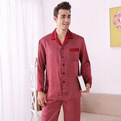 Luxe Top Grade Mens Zomer Plus Size Lange mouwen 100% Zijden Pyjama Twinset met Broek Pure Zijde Plaid Loungewear thuis Kleding