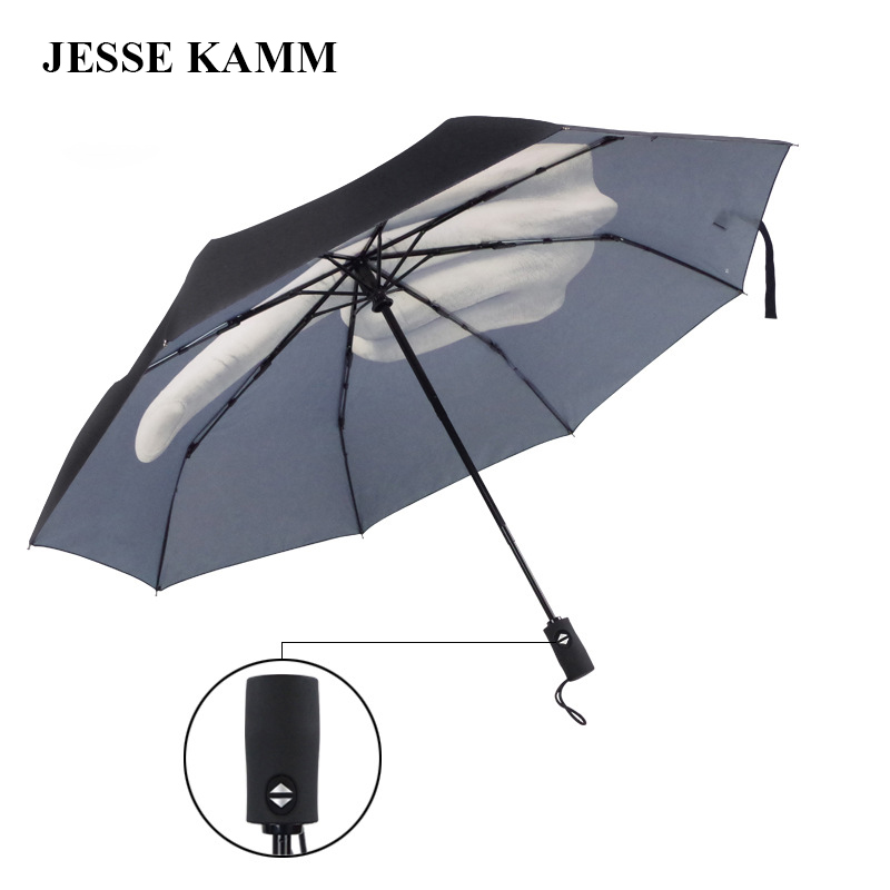 2016 New arrive fashion popular Middle <font><b>Finger</b></font> Gifts Windproof three Folding compact strong frame double canopy big umbrellas
