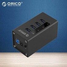 ORICO Мини A3H4-BK 4 Порты Алюминия, USB 3.0 КОНЦЕНТРАТОР с 12 В/2.5A Питания для Ноутбуков-Черный