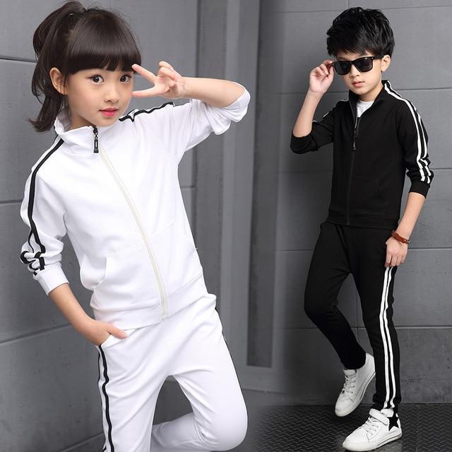 ערכות בגדי נערי הגעה חדשים אביב 2018 ילדים באיכות גבוהה של צבע טהור ספורט חליפה בגיל ההתבגרות ילדה בית ספר מדים 6 15Years
