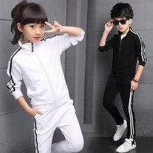 Yeni varış erkek giyim setleri bahar 2018 yüksek kaliteli çocuk saf renk spor elbise genç kız okul üniformaları 6 15Years