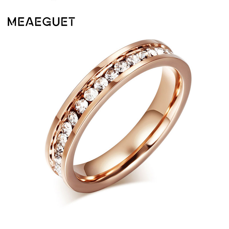 Meaeguet 4mm Wide Fashion party rings for women stainless steel rose Gold Color rings with high quality CZ Stone