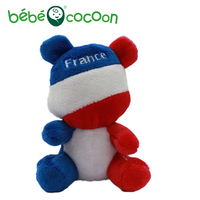 Bebecocoon 2017 10cm Mini Kawaii National Flag Bear France Flag Key Chain Plush Lovely Stuffed Kids