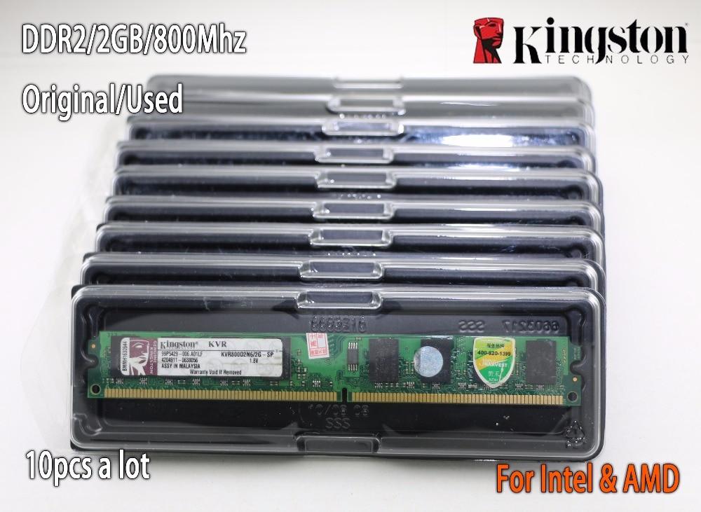 Utilisé original Kingston ram de bureau DDR2 2 GB 2g PC2-6400 800 MHz 10 pièces PC DIMM Mémoire 240 broches Pour AMD pour intel en Lots des ventes