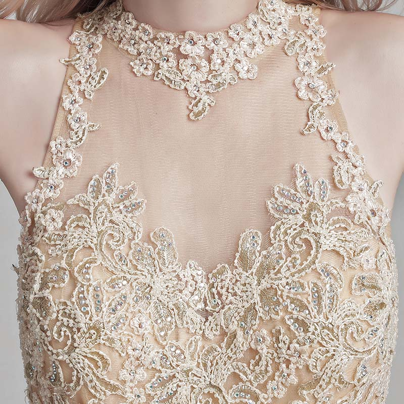 Elegant High Neck Lace Appliques Evening Dresses with Beading Long Tulle Prom Dress Real Photo in Stock Women Party Gowns OL153 in Evening Dresses from Weddings Events