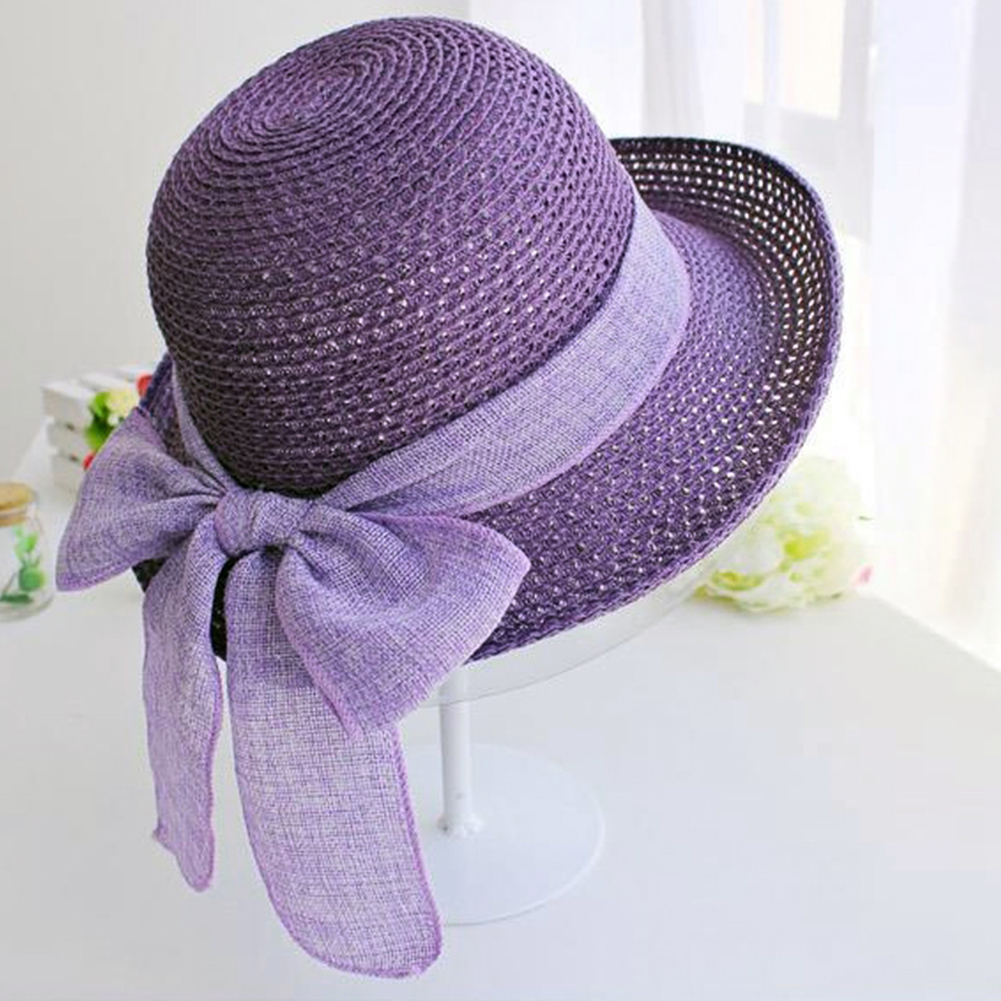 Women Korean Style Bow Summer Head Wear Beach Straw Hat Folding Sun Protection Seaside Gift Wide Brim Elegant Flat
