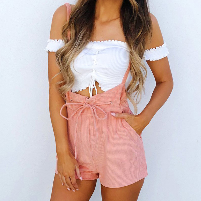 2018 New Arrivals Casual Pink Spaghetti Strap Playsuits Bodysuits For Women 2018 Summer Rompers Womens Jumpsuit Shorts Overall