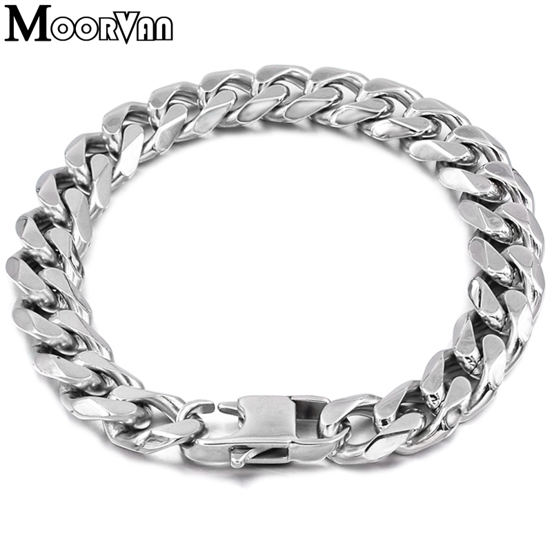 Moorvan Jewelry Men Bracelet Cuban links & chains Stainless Steel Bracelet for Bangle Male Accessory Wholesale B284 26