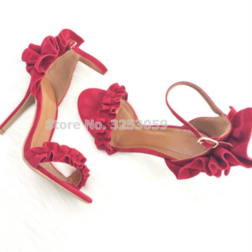 все цены на ALMUDENA Real Photo Ladies Elegant Ruffles High Heel Sandals Red Green Suede Floral Dress Shoes Wedding Pumps Banquet Shoes