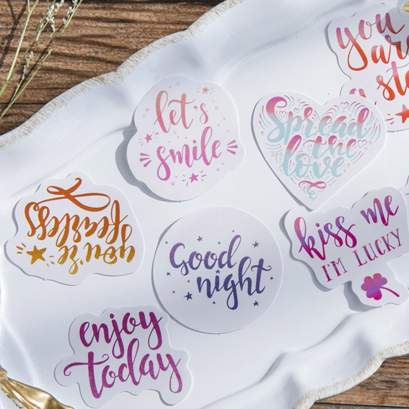 45pcs/lot Kawaii Mood Decorative Adhesive Stickers Scrapbooking DIY Diary Album Stick Label For Kids Gift  Korean Stationery