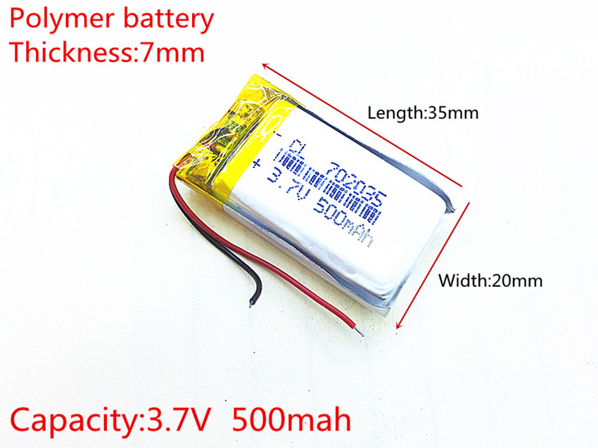 Free shipping Polymer battery 500 mah 3.7 V 702035 smart home MP3 speakers Li-ion battery for dvr,GPS,mp3,mp4,cell phone,speaker 3 7v 5500mah li ion polymer lithiumion battery for 7 8 9 inch tablet pc icoo d70pro ii onda sanei 4 5 79 97mm free shipping