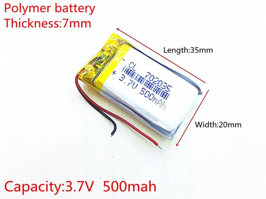 Kostenloser versand Polymer batterie 500 mah 3,7 V 702035 smart home MP3 lautsprecher Li-Ion akku für dvr, GPS, mp3, mp4, handy, lautsprecher