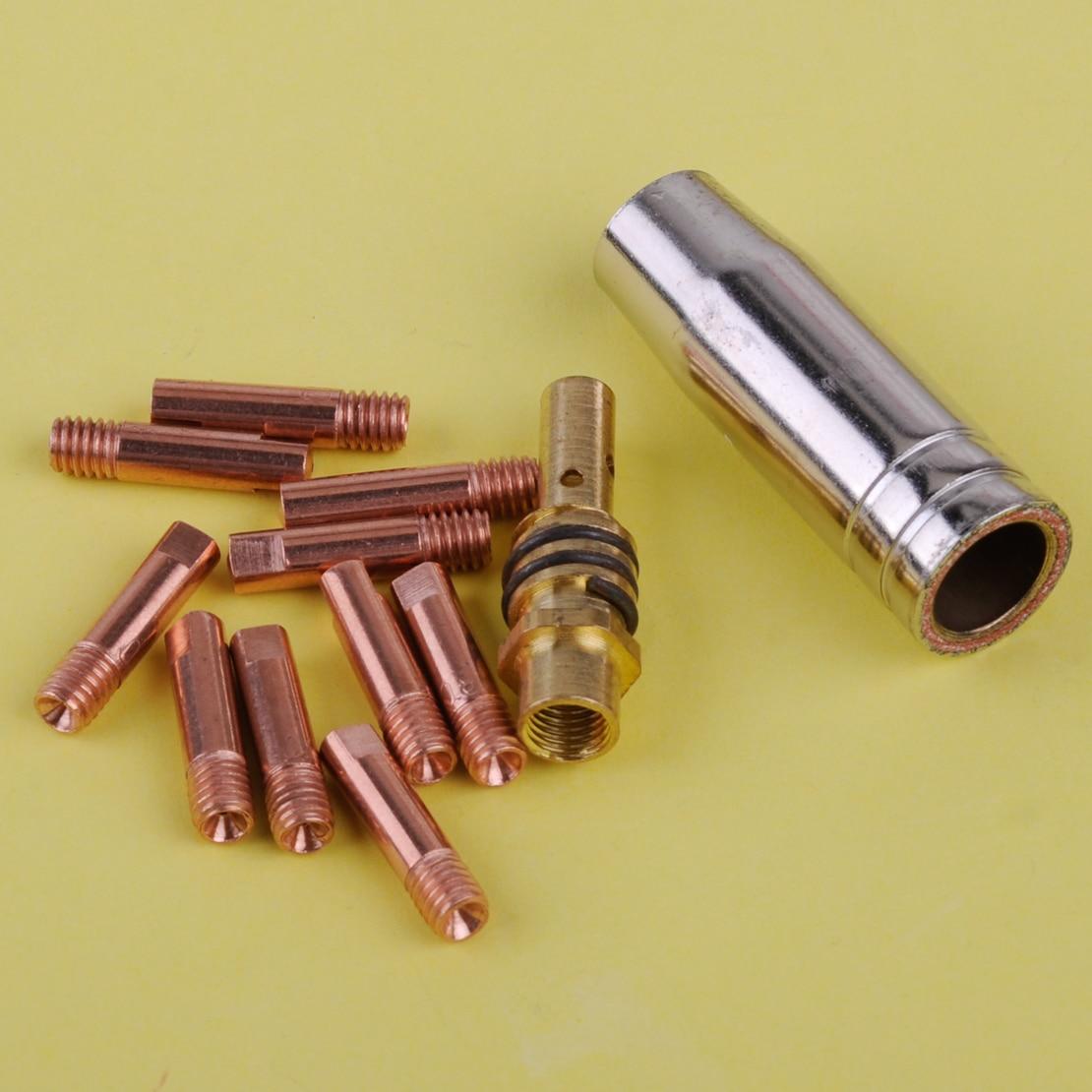 LETAOSK 12 stücke MB 15AK MIG/MAG Schweißen Taschenlampe Kontaktieren Spitze 0,8x25mm M6 Gas Düse Shroud halter Kit