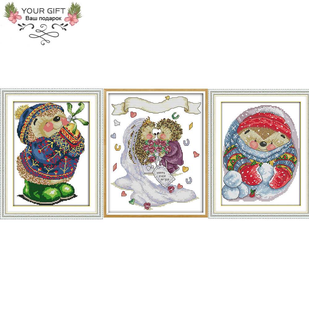 Радость воскресенье DA101 DA102 DA107 домашний декор Ежика играть с зимняя зеленая обувь свадебные Рукоделие наборы для вышивки крестом