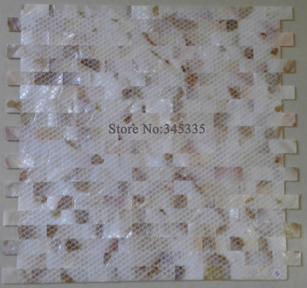 Groutless brick mother of pearl shell mosaic tile pink yellow groutless brick mother of pearl shell mosaic tile pink yellow kitchen backsplash bathroom wallpaper background wall floor tile in wallpapers from home dailygadgetfo Choice Image