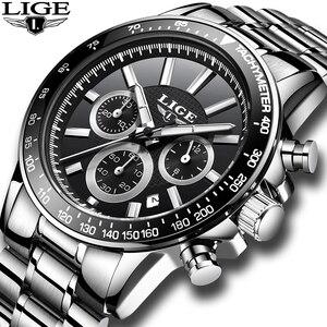 Image 2 - LIGE Luxury Brand Waterproof Military Sport Watches Men Silver Steel Calendar Quartz Analog Watch Clock Relogios Masculinos XFCS