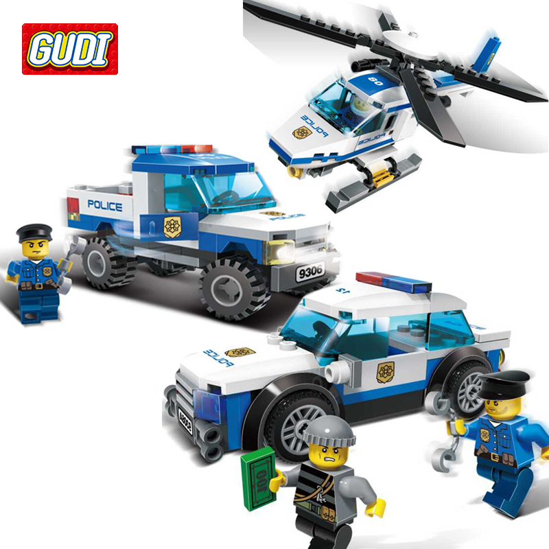 GUDI City Police Blocks Children Educational Assembled Model Police Car Helicopter Building Kits Blocks Toy Boy Kid Brinquedos gudi city police blocks car small particles model building kits assembled toys educational diy toys for children christmas gift