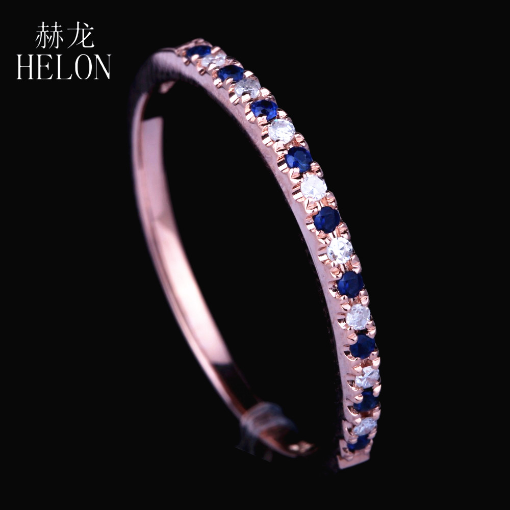 HELON Genuine Natural Diamonds & Sapphires Ring Solid 14k Rose Gold Wedding Ring gemstone ring For Women Trendy Fine Jewelry trendy environmental alloy openwork width ring for women