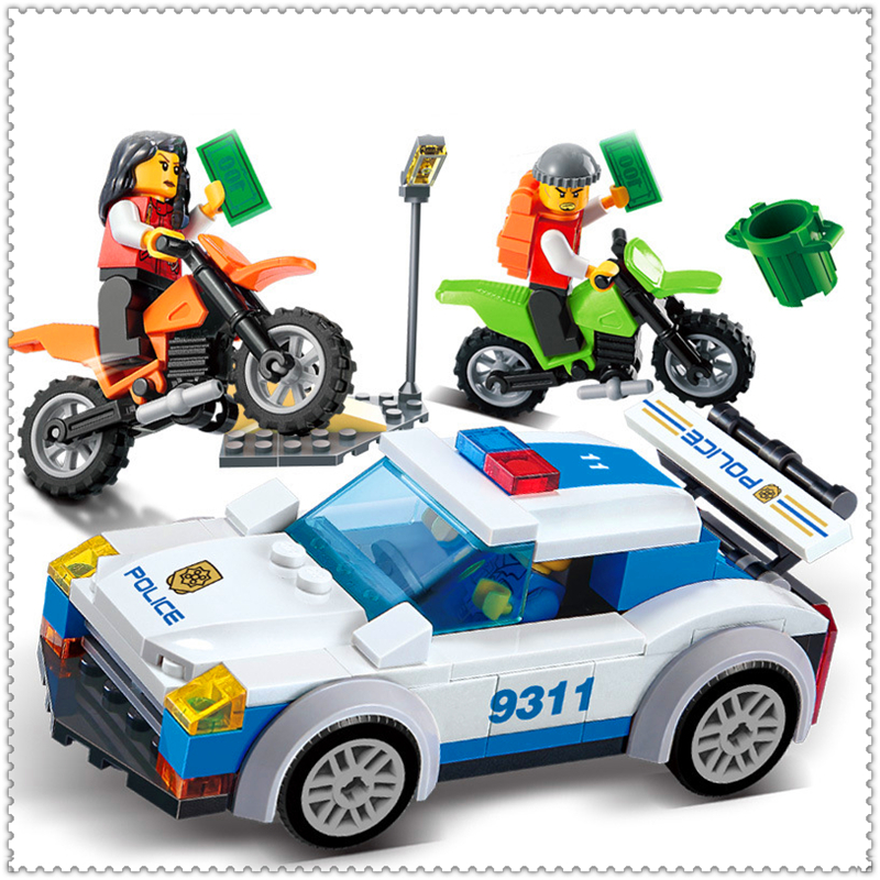 GUDI 9311 158Pcs City High Speed Police Chase Car Building Block DIY Educational  Toys For Children Compatible Legoe jie star police pickup truck 3 kinds deformations city police building block toys for children boys diy police block toy 20026