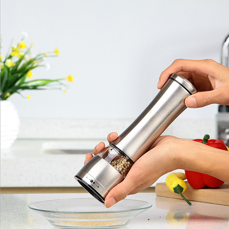 Stainless Steel Glass Pepper Mill Slim Fit Spice Salt Pepper Grinder Kitchen Accessories Cooking Tools abs plastic electric pepper spice sea salt mill grinder muller yellow