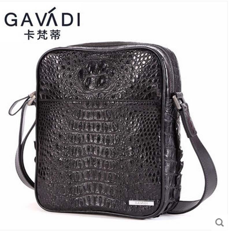 kafandi men single shoulder bag crocodile leather satchel bag business casual style real crocodile leather men's bags Men's sing casual canvas satchel men sling bag