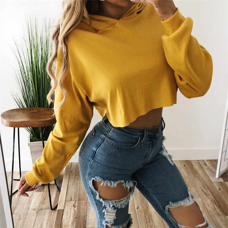 Autumn Winter Loose Cropped Hoodies Women Casual Tops Sweatshirt Hooded Solid Pullover Coat Sudaderas Mujer