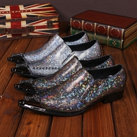 Shiny Mixed Color Metallic Mens Pointed Toe Dress Shoes Italian Mens Shoes Brands Oxford Formal Snake Skin Shoes For Men