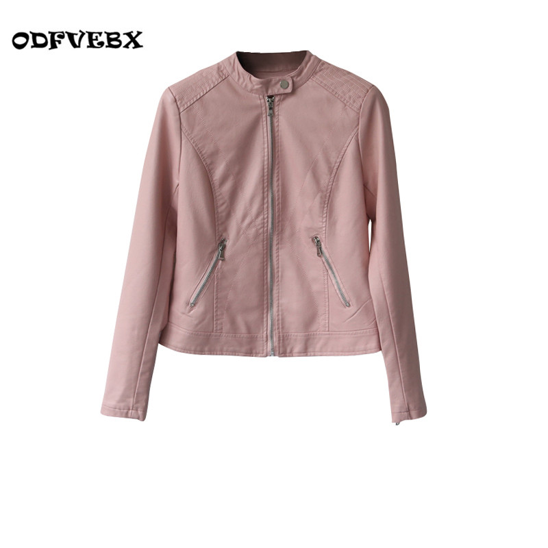 Spring Branded   leather   jacket made of faux   leather   jacket thin short zipper   leather   motorcycle Feminina jackets Women ODFVEBX