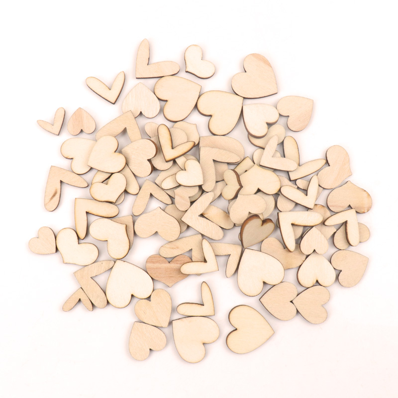 Mix Natural Wooden Heart Ornament Handmade Wooden Crafts Accessory Home Decoration Scrapbookings Painting DIY 15-30mm 50pcs