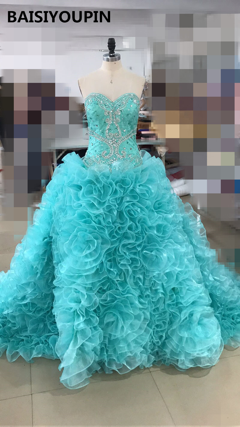 Ball Gown Quinceanera Dresses 2017 Vestido De Debutante Para 15 Anos Turquoise Organza Ruffled Sweet 16 Dresses