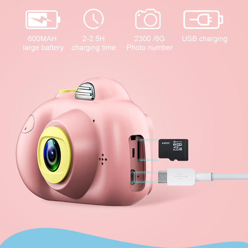 Image 3 - 2.0inch HD 1080P Mini Kids Camera Children Front and Back Dual Lens Digital Video Camera Face Recognition Camara Fotografica Cam-in Point & Shoot Cameras from Consumer Electronics