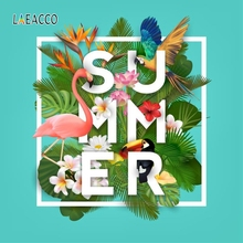 Laeacco Tropical Flamingo Background Poster Holiday Portrait Photography Party Scene Photographic Backdrop For Photo Studio
