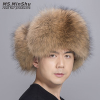 Ms.MinShu Genuine Raccoon Fur Hat with Sheepskin leather Outer shell Real Fur Hat Russian Fur Hat Unisex Fluffy Fur Hat