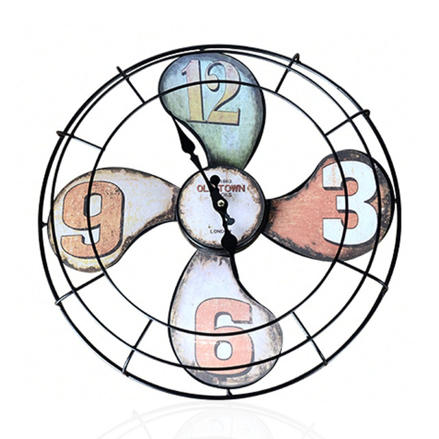 Fan Shape Clock Wall Mounted Battery Ed American Style Hanging Home Office Decoration