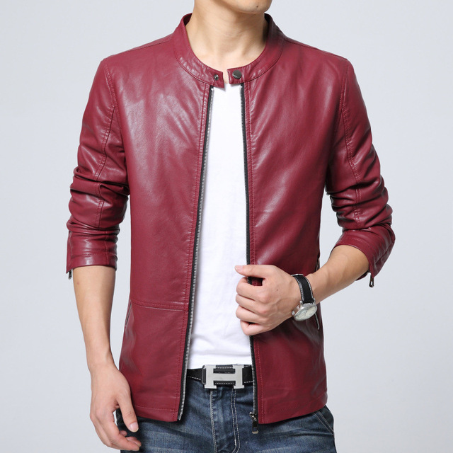 2017 Spring and Autumn new men's leather jacket youth Korean version of Slim collar collar men's leisure washed leather jacket