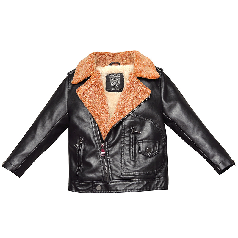 Winter Leather Jacket for Boys or Girl, Kids Leather Jacket,Advanced PU Imitation Leather Coat,Trim Fit Style clothing (3-12Yrs)